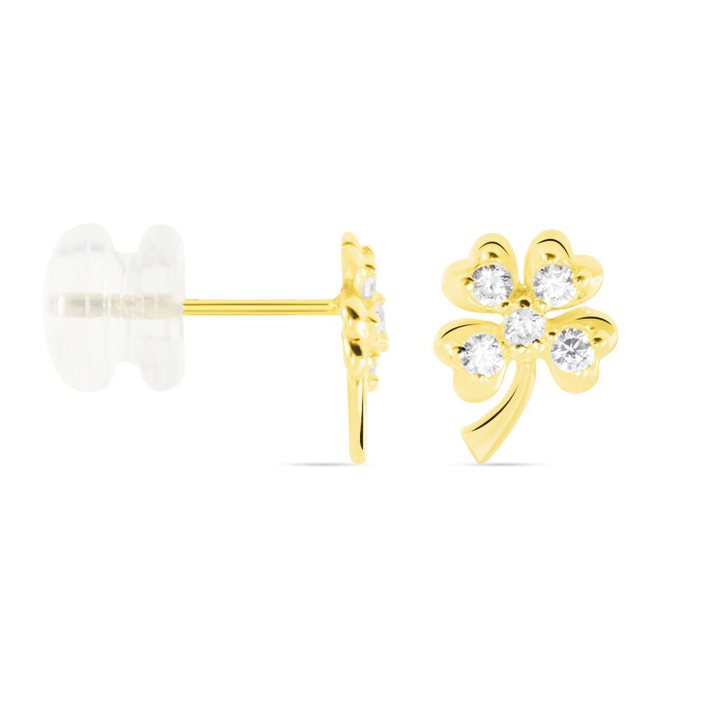 Boucles D'oreilles Or Jaune Verdiane Oxydes - Boucles d'Oreilles Trèfle Femme   Histoire d'Or