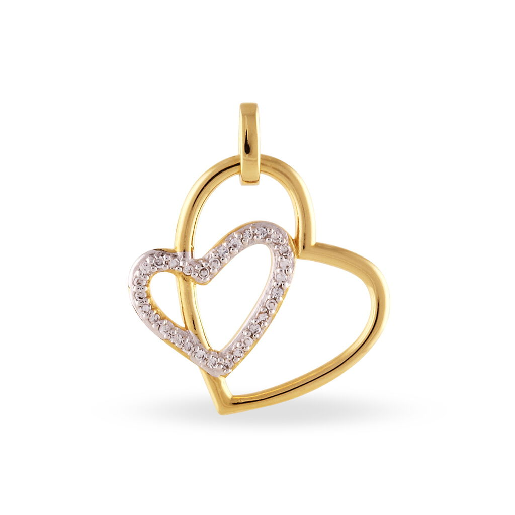 Pendentif Scarlett Plaque Or Jaune Oxyde De Zirconium - Pendentifs Coeur Femme   Histoire d'Or