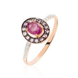 Bague Leona Or Rose Rubis Et Saphir Et Diamant - Bagues avec pierre Femme | Histoire d'Or