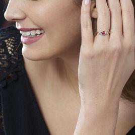 Bague Ondulation Or Bicolore Rubis Et Diamant - Bagues solitaires Femme | Histoire d'Or