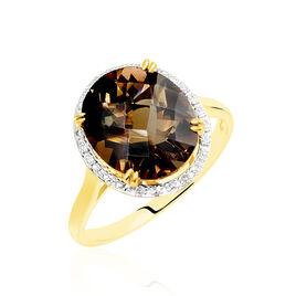 Bague Anna Or Jaune Quartz Et Diamant - Bagues avec pierre Femme   Histoire d'Or