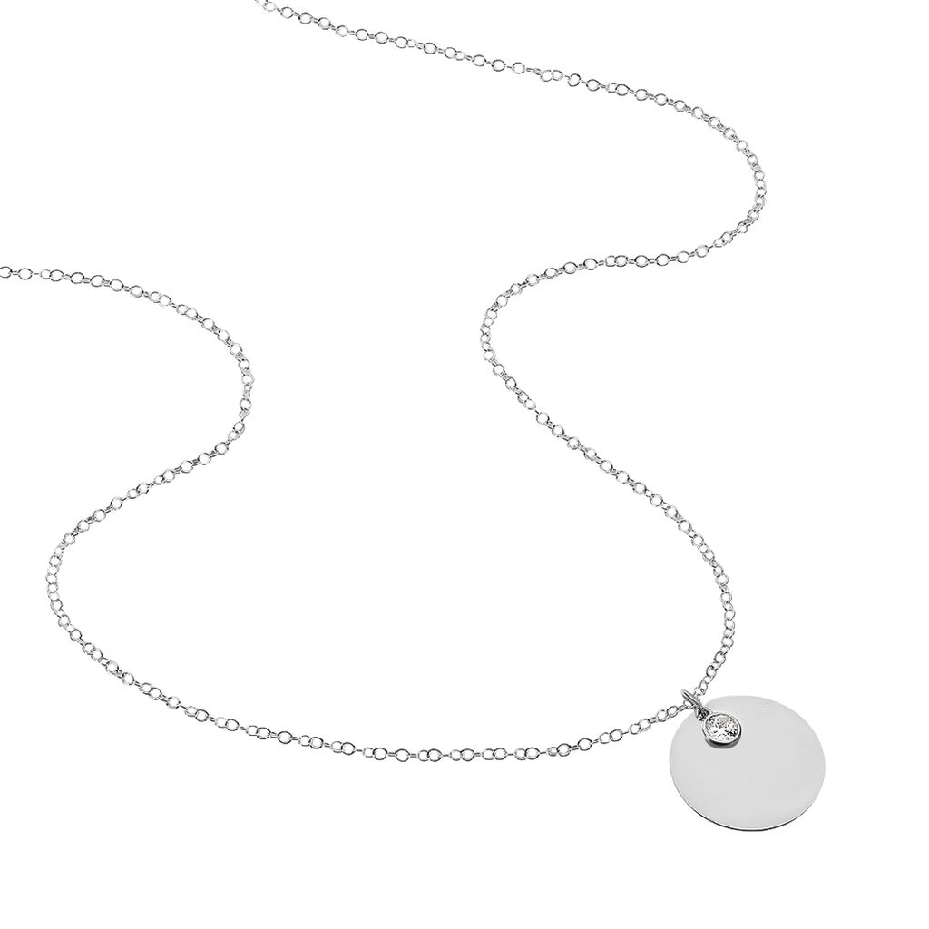 Collier Sautoir Paula Argent Blanc Oxyde De Zirconium - Colliers fantaisie Femme | Histoire d'Or
