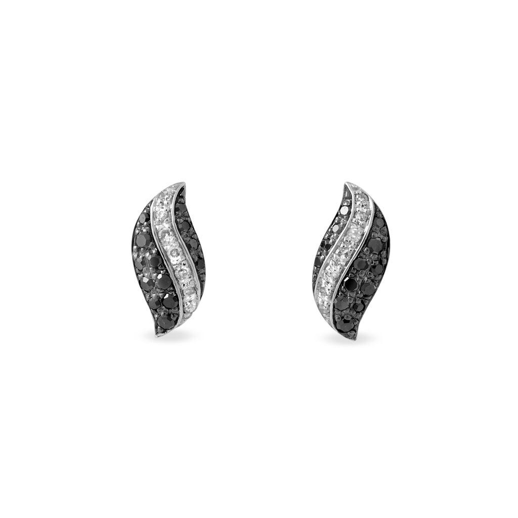 Boucles D'oreilles Puces Hildie Or Blanc Diamant - Clous d'oreilles Femme | Histoire d'Or