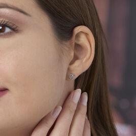 Boucles D'oreilles Puces Selima Argent Blanc - Boucles d'oreilles fantaisie Femme | Histoire d'Or