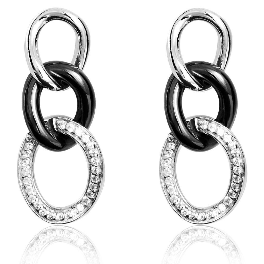 Boucles D'oreilles Pendantes Link Argent Céramique Et Oxyde - Boucles d'oreilles pendantes Femme | Histoire d'Or