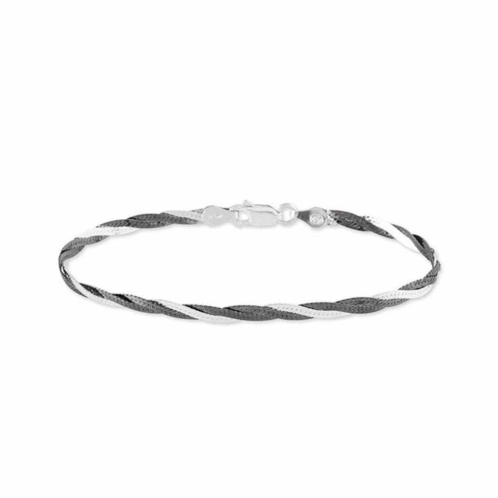Bracelet Elae Maille Tresse Argent Bicolore - Bracelets chaîne Femme | Histoire d'Or