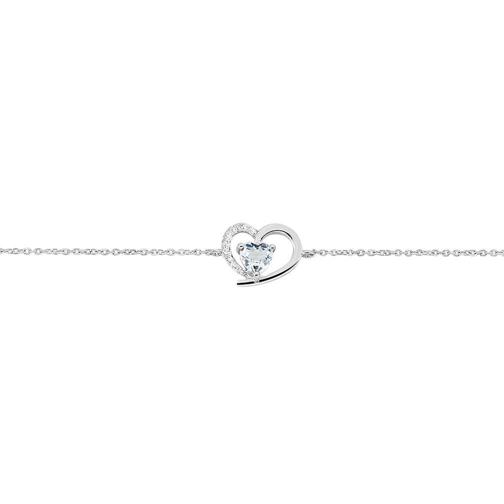 Bracelet Eliana Or Blanc Topaze Et Oxyde De Zirconium - Bracelets Coeur Femme | Histoire d'Or