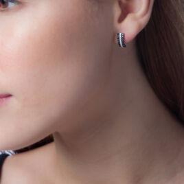 Boucles D'oreilles Puces Lenore Or Blanc Saphir Et Diamant - Clous d'oreilles Femme | Histoire d'Or