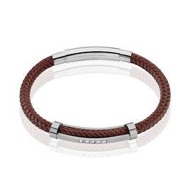Bracelet Gabin Acier Blanc Pierre De Synthese - Bracelets cordon Homme   Histoire d'Or