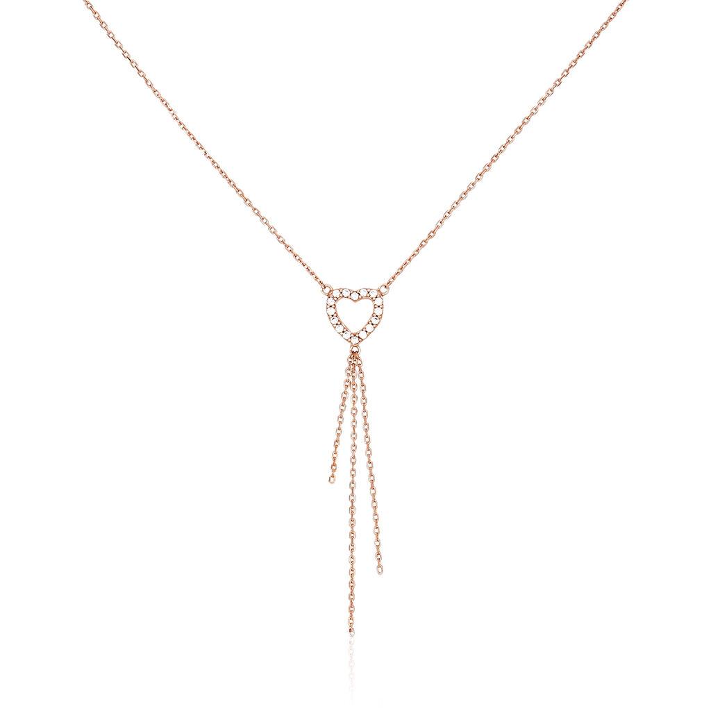 Collier Chislaine Argent Rose Oxyde De Zirconium - Colliers Coeur Femme | Histoire d'Or
