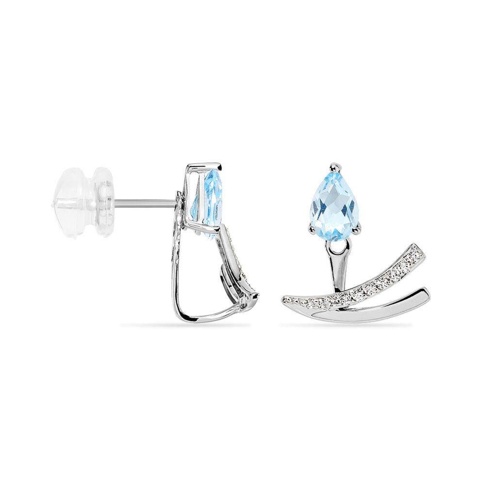 Bijoux D'oreilles Marlene Or Blanc Topaze Et Oxyde De Zirconium - Ear cuffs Femme | Histoire d'Or