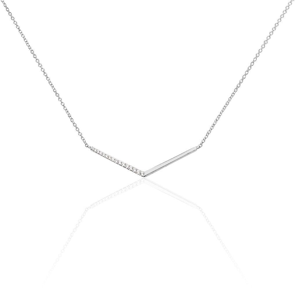 Collier Emea Argent Blanc Oxyde De Zirconium - Colliers fantaisie Femme   Histoire d'Or