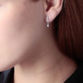 Boucles D'oreilles Puces Heda Or Blanc Oxyde De Zirconium - Boucles d'Oreilles Plume Femme | Histoire d'Or