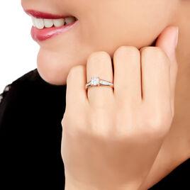 Bague Celia Or Rose Diamant - Bagues avec pierre Femme   Histoire d'Or