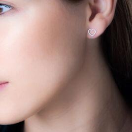 Boucles D'oreilles Puces Eglentyne Or Blanc Diamant - Boucles d'Oreilles Coeur Femme   Histoire d'Or