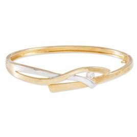 Bracelet Jonc Plaque Or Bicolore Oxyde De Zirconium - Bijoux Femme | Histoire d'Or