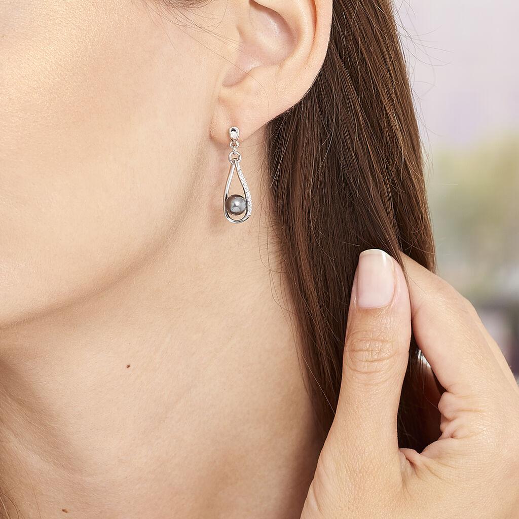Boucles D'oreilles Pendantes Polynesie Argent Perle D'imitation Oxyde - Boucles d'oreilles fantaisie Femme | Histoire d'Or