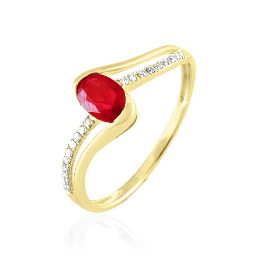 Bague Anja Or Jaune Rubis Et Diamant - Bagues avec pierre Femme   Histoire d'Or