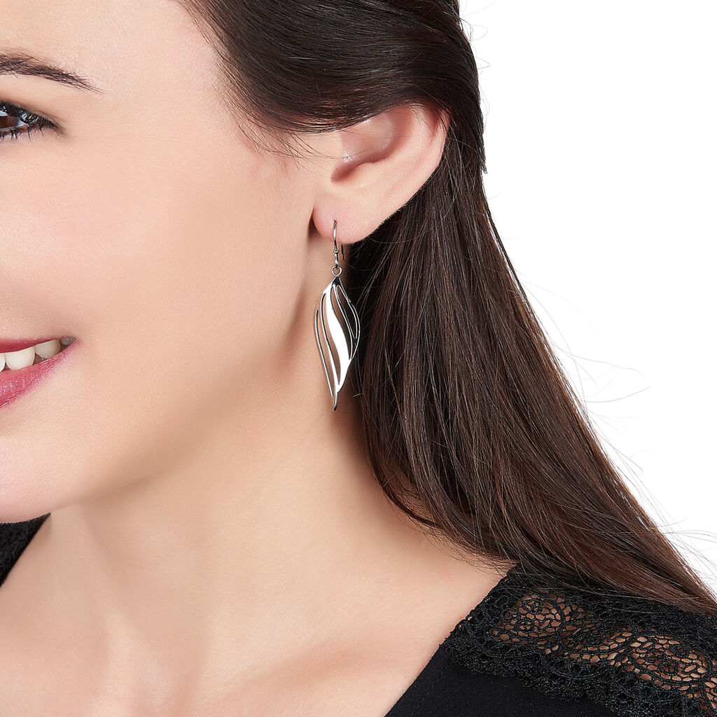 Boucles D'oreilles Pendantes Salaya Acier Blanc - Boucles d'Oreilles Plume Femme   Histoire d'Or