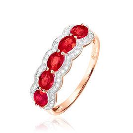 Bague Or Rose Margaux Rubis - Bagues avec pierre Femme   Histoire d'Or