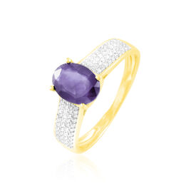 Bague Crista Or Jaune Amethyste Et Diamant - Bagues avec pierre Femme | Histoire d'Or