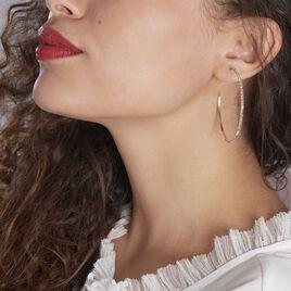Créoles Tyhana Fil Carre Or Blanc Oxyde - Boucles d'oreilles créoles Femme   Histoire d'Or