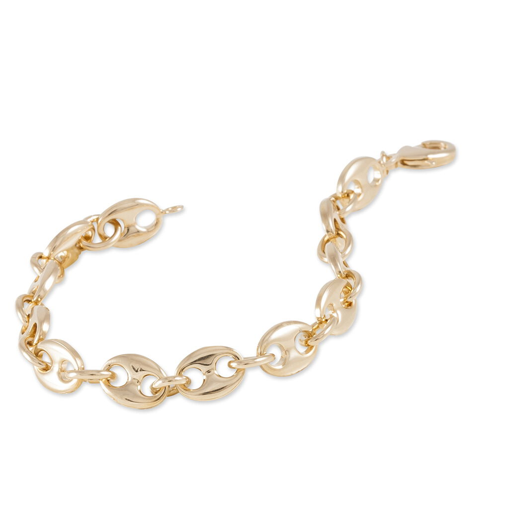 Bracelet Capucine Maille Grain De Cafe Plaque Or Jaune