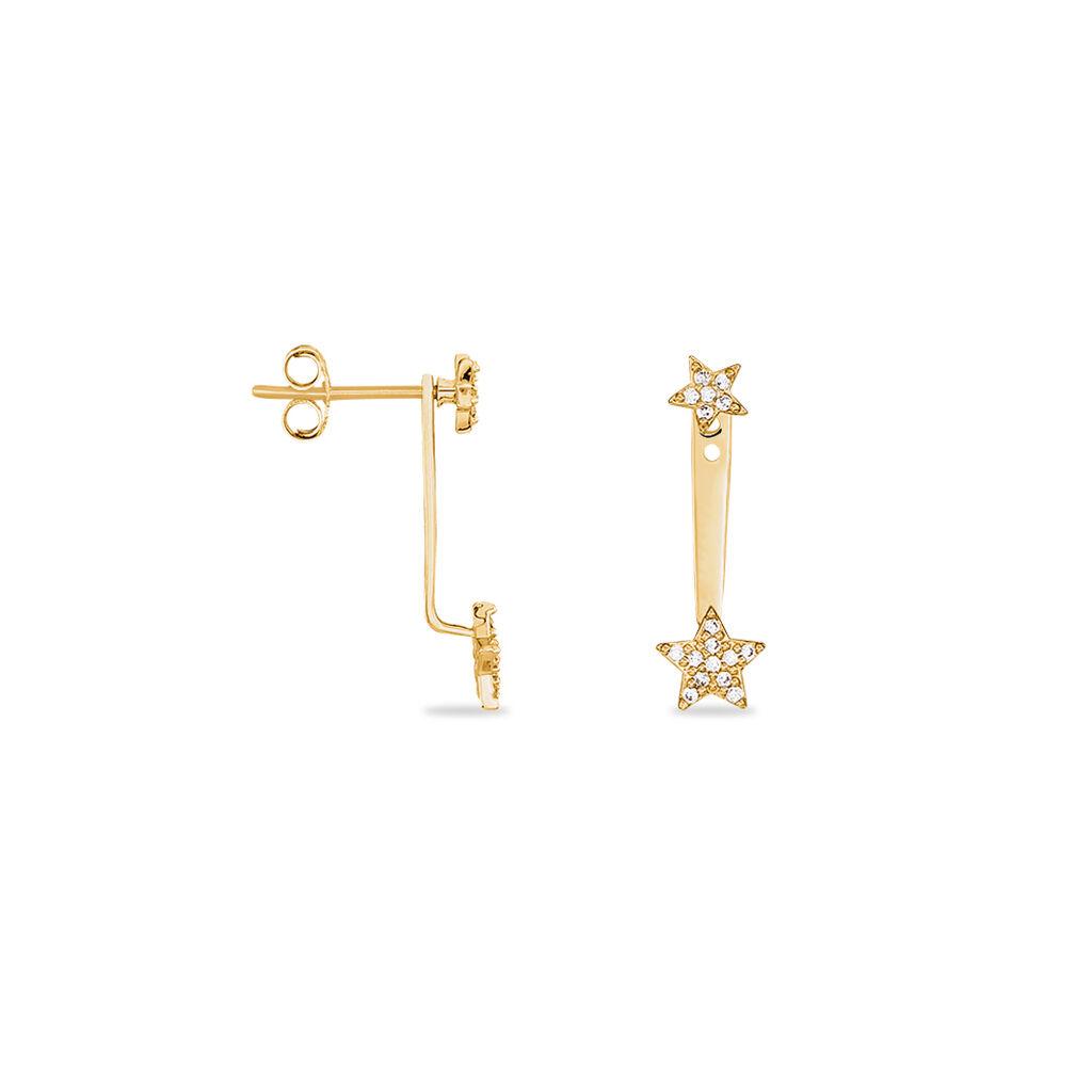 Bijoux D'oreilles Louisiane Plaque Or Jaune Oxyde De Zirconium - Boucles d'Oreilles Etoile Femme | Histoire d'Or