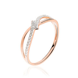 Bague Lauraline Or Rose Diamant - Bagues avec pierre Femme   Histoire d'Or