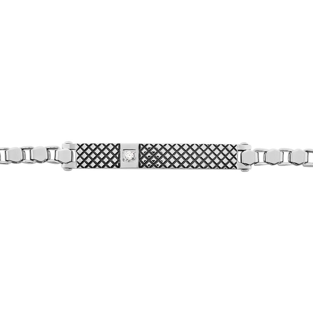 Bracelet Clement Acier Blanc Oxyde De Zirconium - Bracelets fantaisie Homme   Histoire d'Or