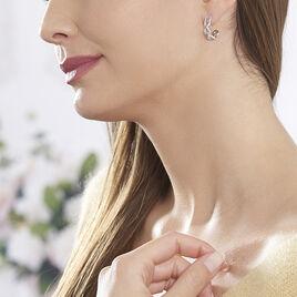 Boucles D'oreilles Argent Rhodie Ela Pendante Oxyde - Boucles d'oreilles créoles Femme | Histoire d'Or