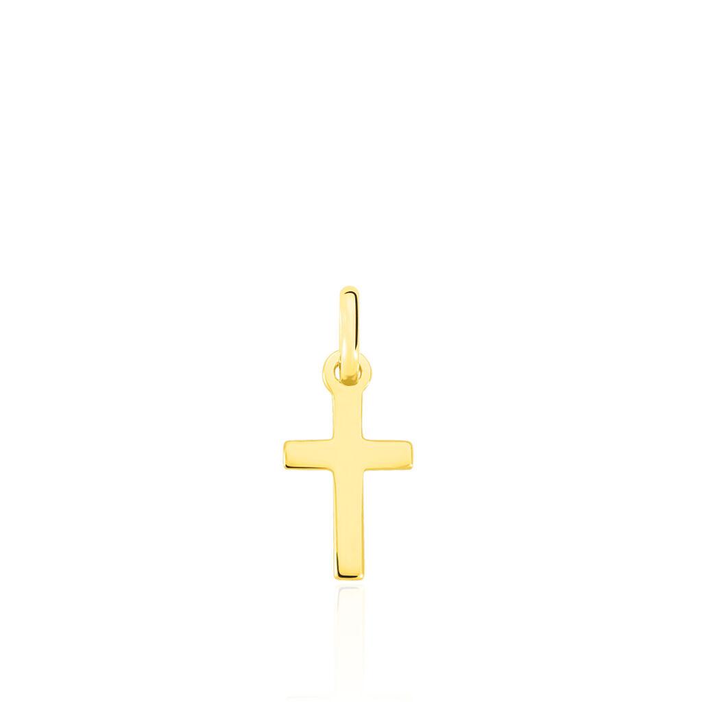 Pendentif Or Jaune Croix Striee Yona - Pendentifs Croix Unisexe | Histoire d'Or