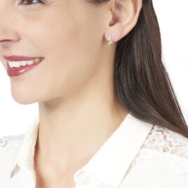 Boucles D'oreilles Puces Emeralda Or Jaune Diamant - Boucles d'Oreilles Plume Femme | Histoire d'Or