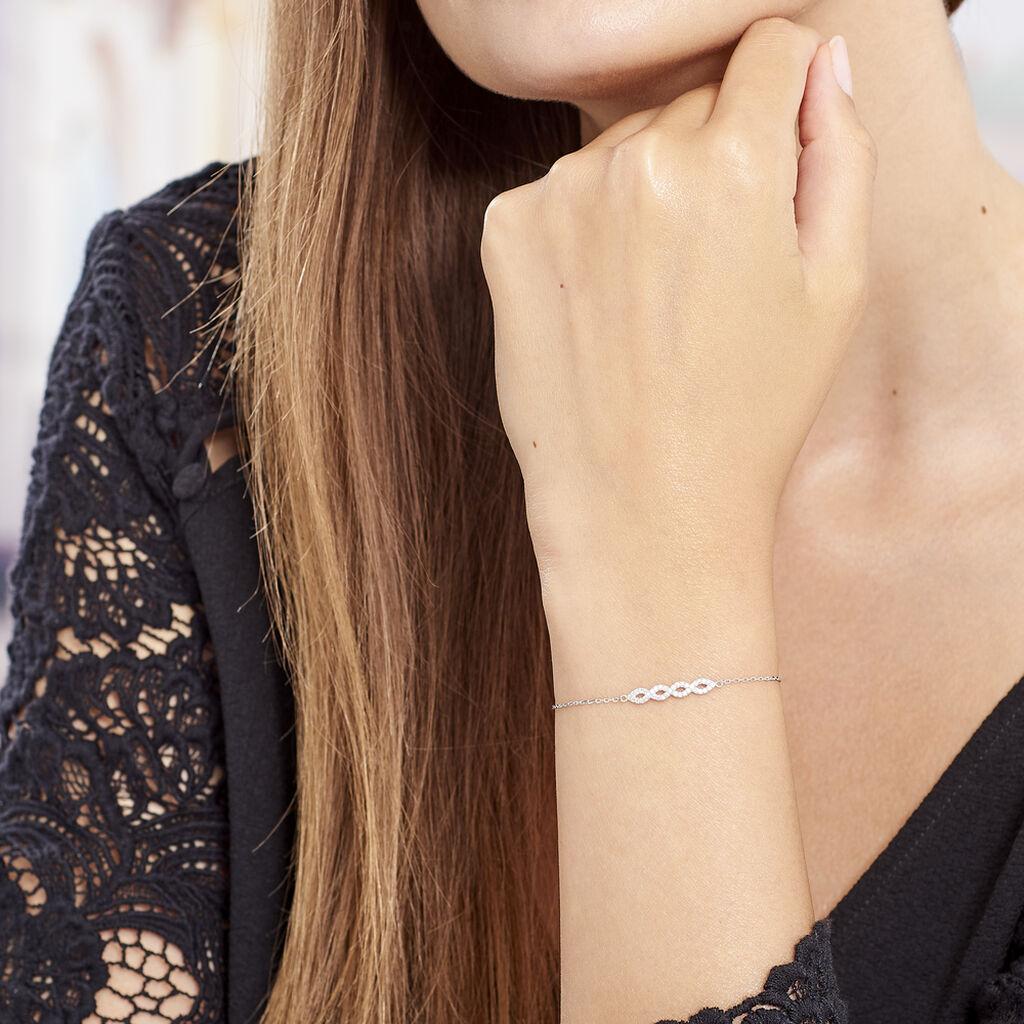 Bracelet Dorine Argent Blanc Oxyde De Zirconium - Bracelets fantaisie Femme   Histoire d'Or