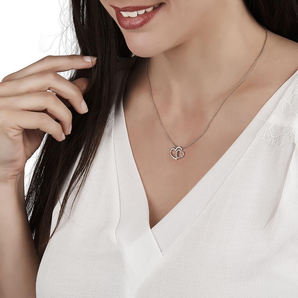 Collier Alexandra Plaque Or Jaune Oxyde De Zirconium - Colliers Coeur Femme   Histoire d'Or