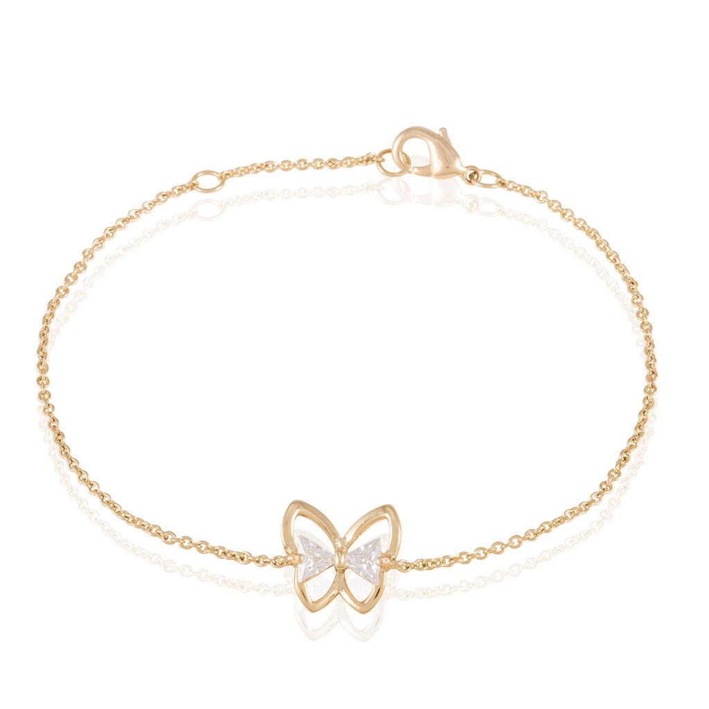 Bracelet Jelissa Plaque Or Jaune Oxyde De Zirconium - Bracelets Papillon Femme   Histoire d'Or