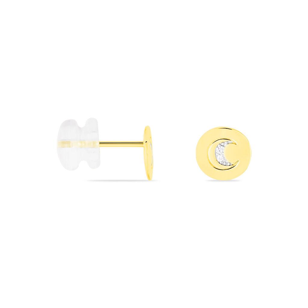 Boucles D'oreilles Puces Yamna Or Jaune Oxyde De Zirconium - Boucles d'Oreilles Lune Femme | Histoire d'Or