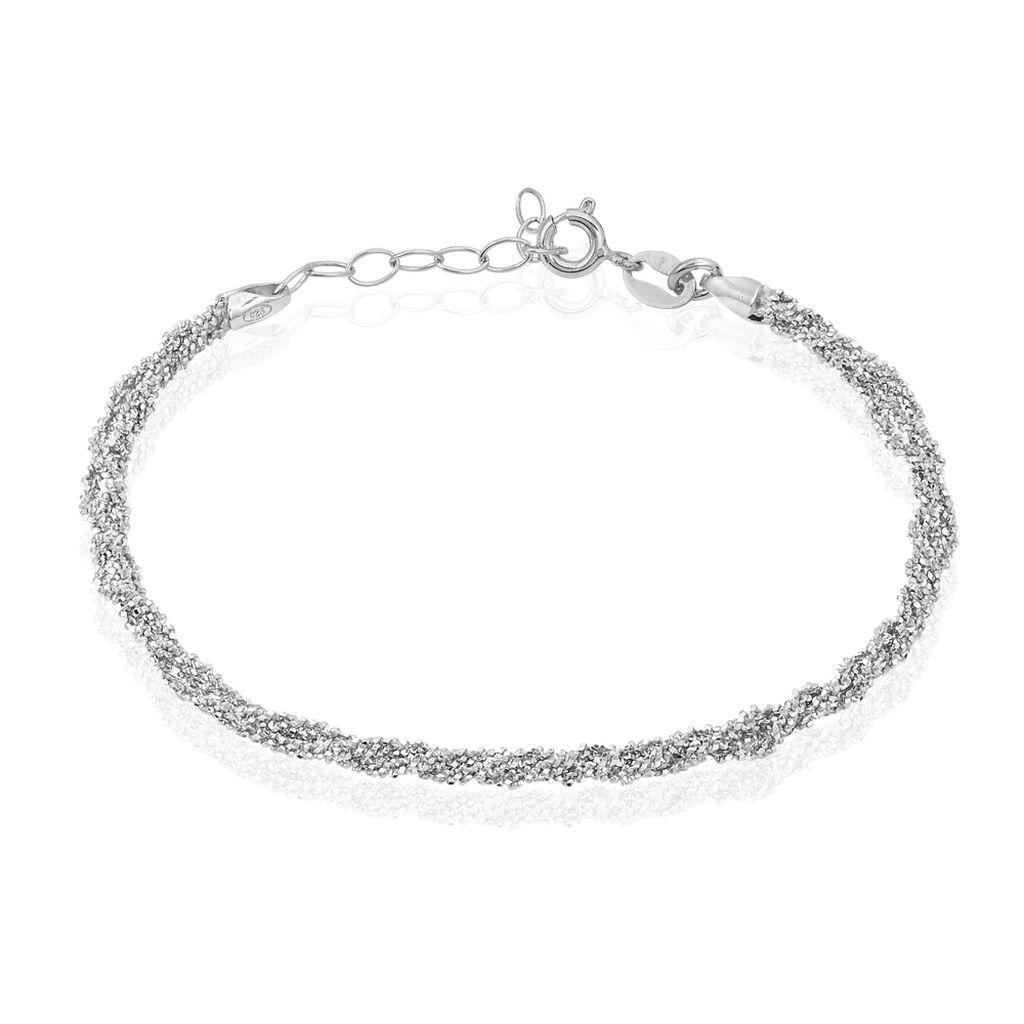 Bracelet Abie Torsade Argent Blanc - Bracelets fantaisie Femme   Histoire d'Or