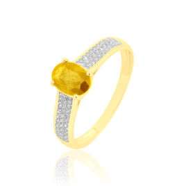 Bague Crista Or Jaune Citrine Et Diamant - Bagues avec pierre Femme   Histoire d'Or
