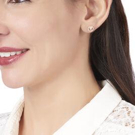 Boucles D'oreilles Puces Lila Plaque Or Jaune Oxyde De Zirconium - Boucles d'oreilles fantaisie Femme | Histoire d'Or