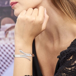 Bracelet Jonc Solitaae Argent Blanc - Bracelets joncs Femme | Histoire d'Or