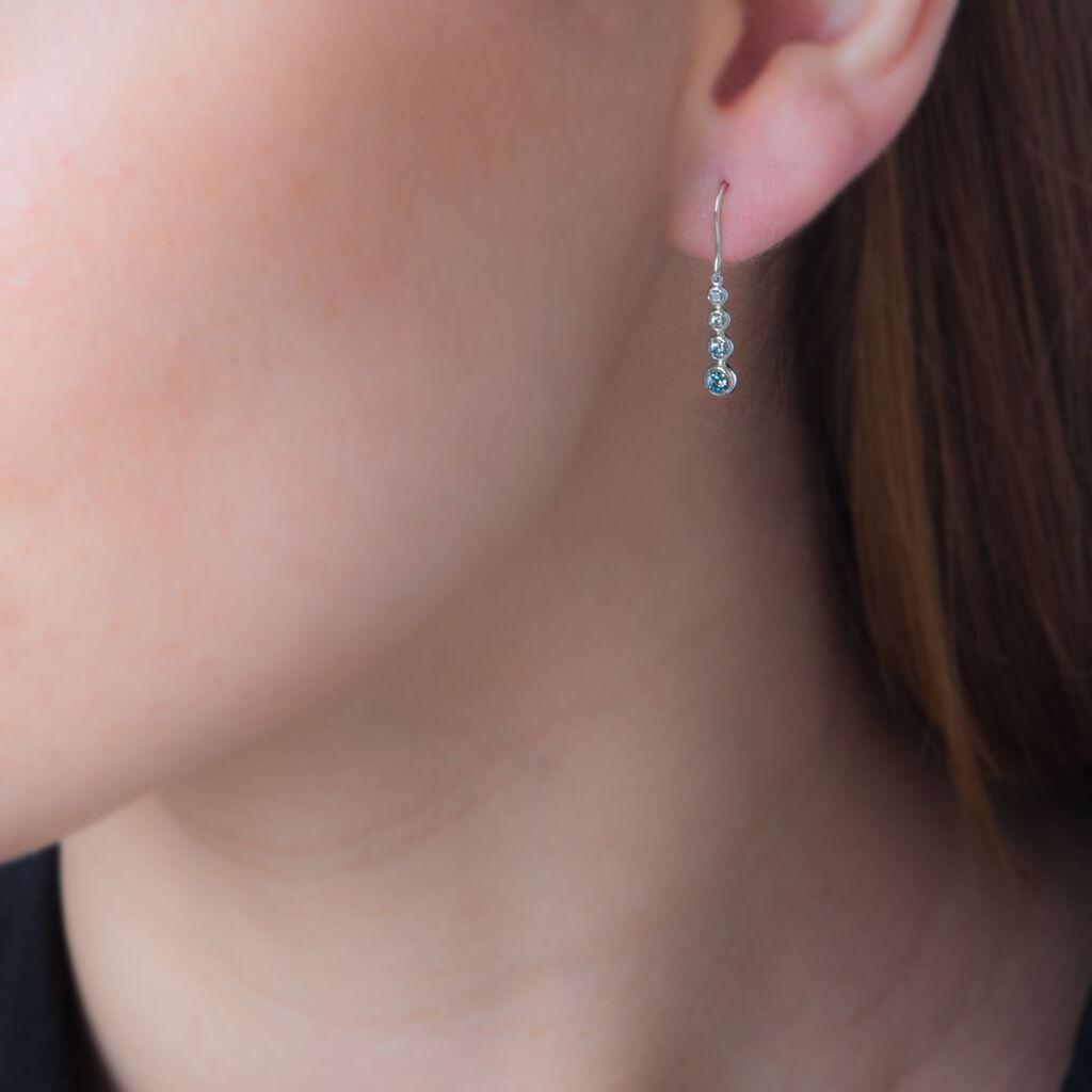Boucles D'oreilles Puces Sharonne Or Blanc Topaze Et Diamant - Boucles d'oreilles pendantes Femme | Histoire d'Or