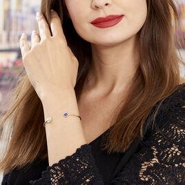 Bracelet Jonc Cartina Plaque Or Jaune Pierre De Synthese - Bracelets fantaisie Femme   Histoire d'Or
