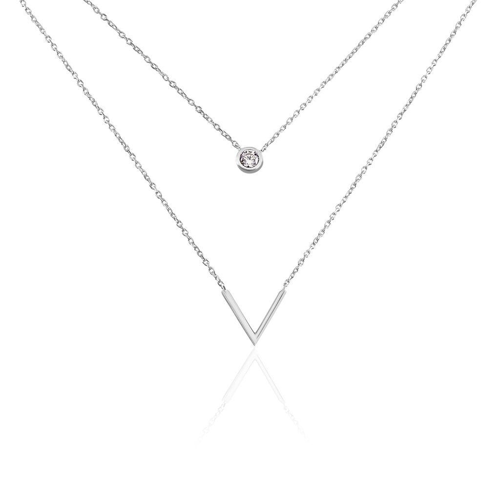 Collier Susette Argent Blanc Oxyde De Zirconium - Colliers fantaisie Femme | Histoire d'Or