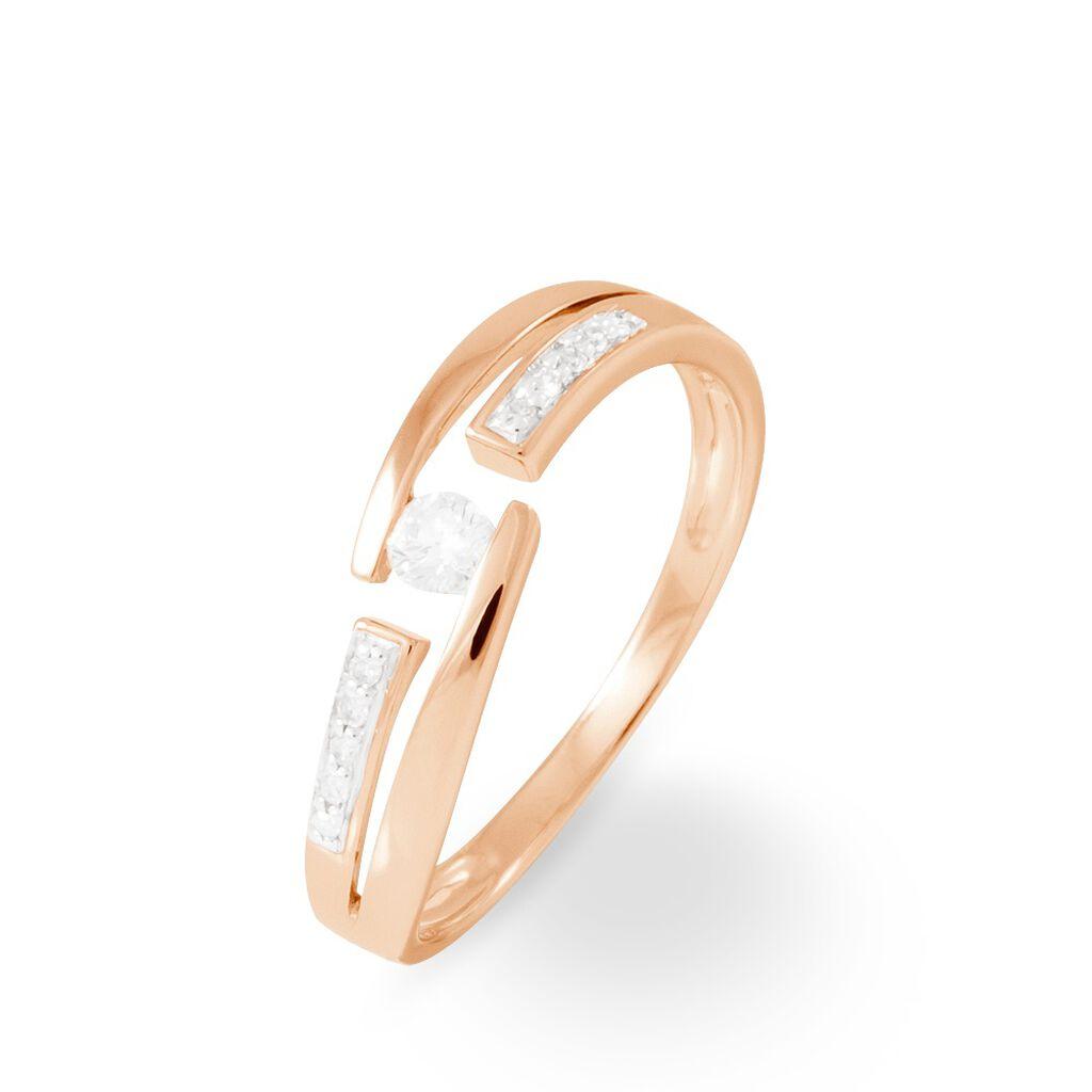 Bague Solitaire Elisa Or Rose Diamant - Bagues avec pierre Femme | Histoire d'Or