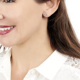Boucles D'oreilles Puces Princesse Or Rose Diamant - Clous d'oreilles Femme   Histoire d'Or