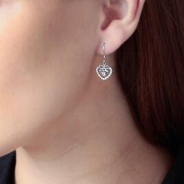 Boucles D'oreilles Pendantes Meliha Argent Blanc Oxyde De Zirconium - Boucles d'Oreilles Coeur Femme | Histoire d'Or
