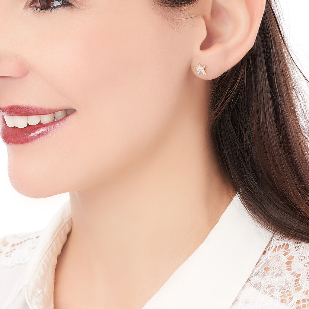 Boucles D'oreilles Puces Stephanette Plaque Or Oxyde De Zirconium - Boucles d'Oreilles Etoile Femme | Histoire d'Or