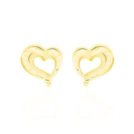 Boucles D'oreilles Puces Anne-maudae Coeurs Or Jaune - Boucles d'Oreilles Coeur Femme   Histoire d'Or