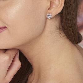 Boucles D'oreilles Puces Fidjy Argent Blanc Oxyde De Zirconium - Boucles d'oreilles fantaisie Femme | Histoire d'Or